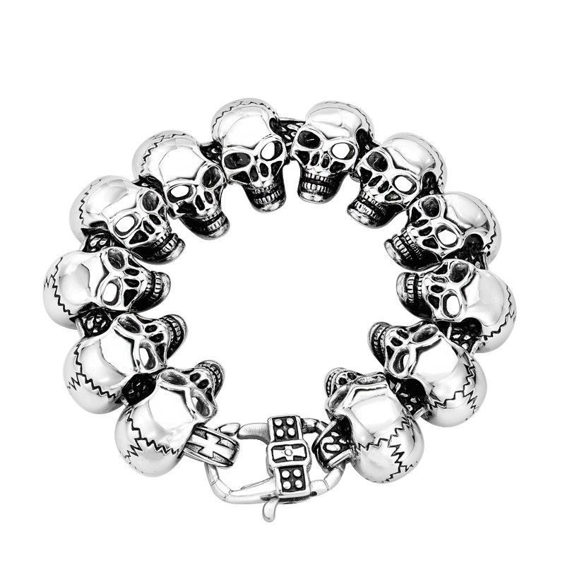 2016 New High Quality Cool Punk Skull 316 Stainless Steel Man's Bracelets