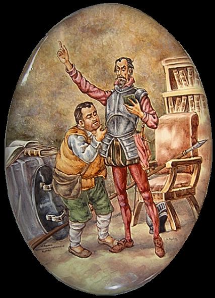El bueno de Sancho Panza atabiando a su señor, que no cesa ni un momento de enfrascarse en su afición a la lectura, óvalo cerámico.