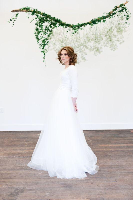 Elizabeth Cooper Design wedding gown Fae | modest wedding dress | lace | ball gown | long sleeves | Utah | 2 piece