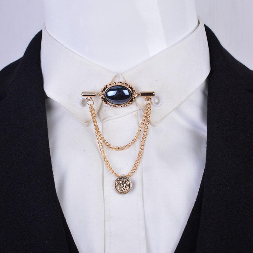 2x(Mens Crown Tassel Chain Brooch Lapel Pin for Coat Suit