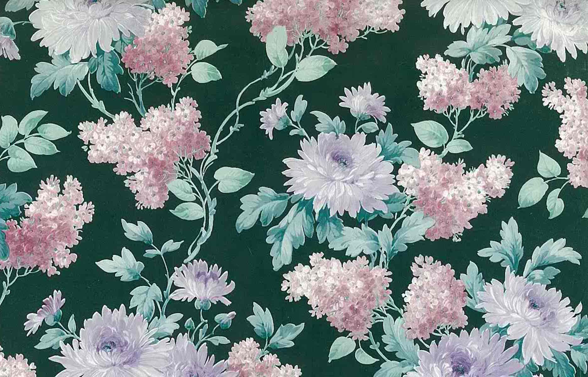 Vintage Victorian Floral Wallpaper Purple Taupe Green 17924 D Rs
