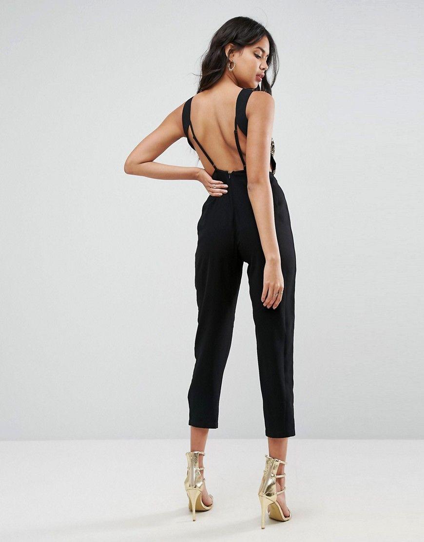 aa9d1f499d9d ASOS Embellished Cowl Neck Jumpsuit - Black