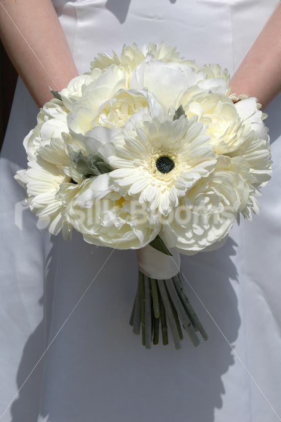 Modern Ivory Gerbera And Peony Artificial Bridal Wedding Bouquet