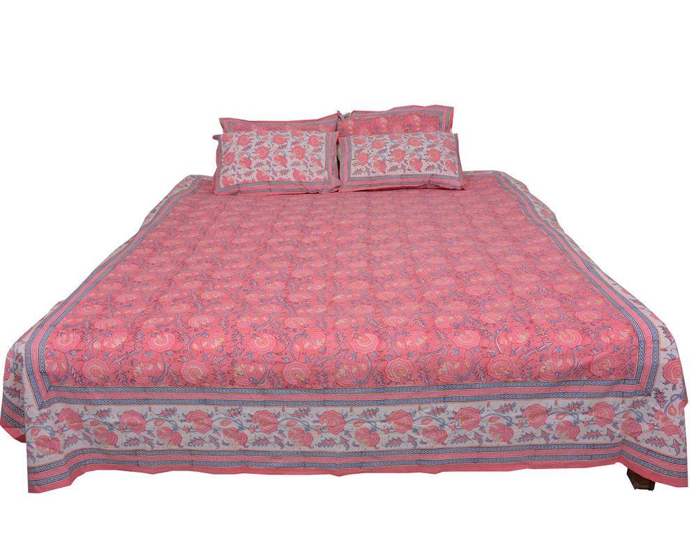 100% Cotton hand block printed Jaipuri Bedsheet bedlinen bedcover sanganeri #ChhipaPrints