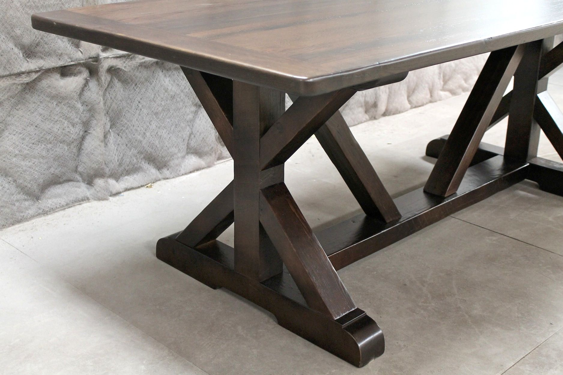 Gorgeous 7ft Restoration Hardware Inspired X Trestle Base Dining Table