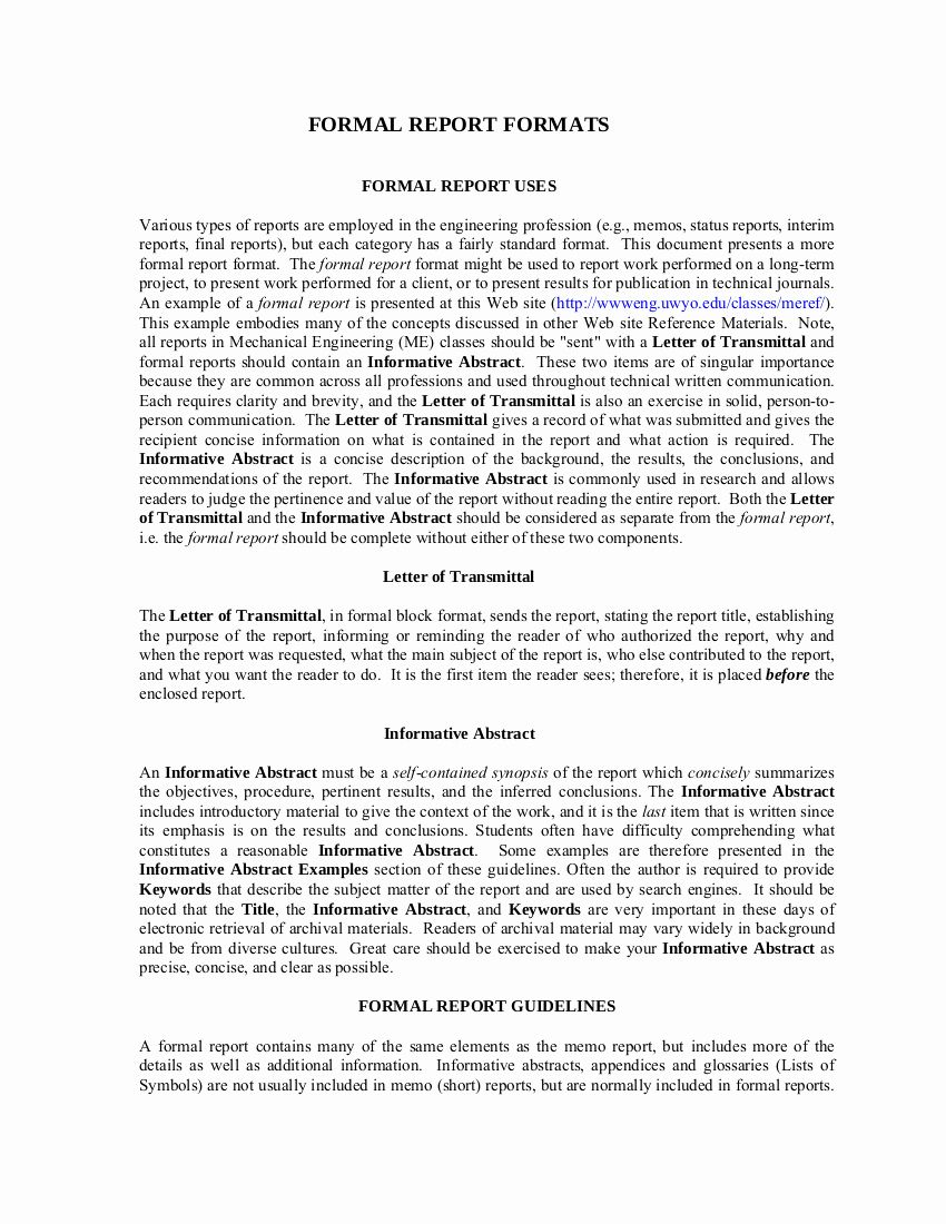 Formal Business Report Example Fresh 8 formal Report