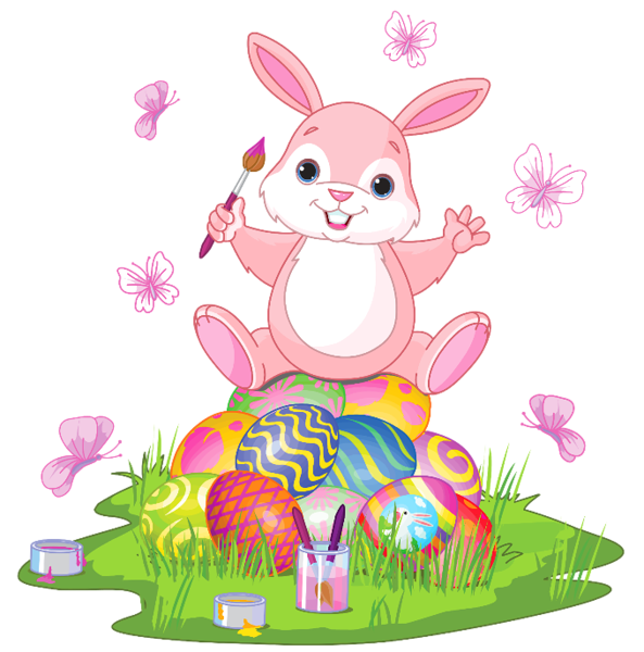Easter Bunny With Eggs And Grass Png Clipart Picture Cute Easter Bunny Easter Bunny Cartoon Bunny