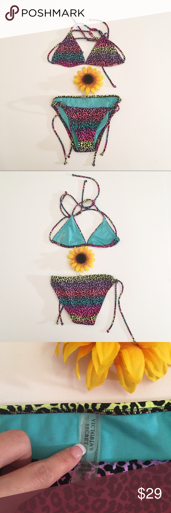 Rainbow leopard print Victoria's Secret bikini XS Very