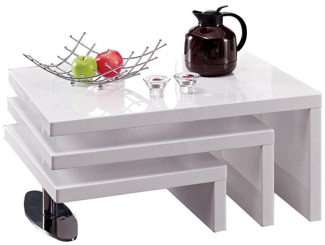 Table Basse A 3 Plateaux Pivotants Blanc Laque Table Basse Table Salle A Manger Salle A Manger Blanche