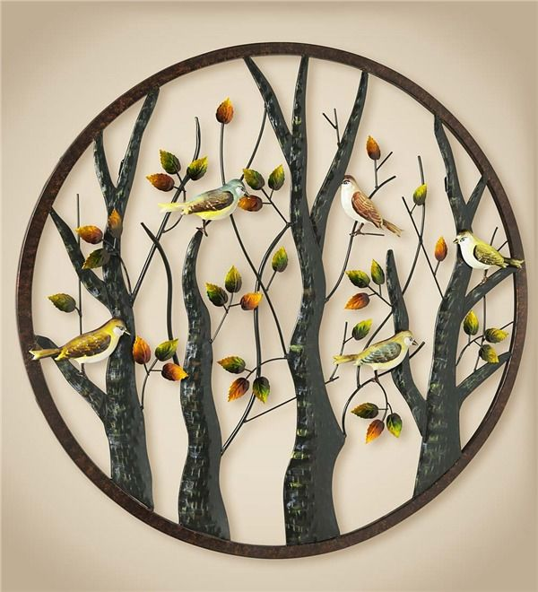 80473d4e0f Main image for Metal Wall Art with Colorful Birds and Trees   Metal ...