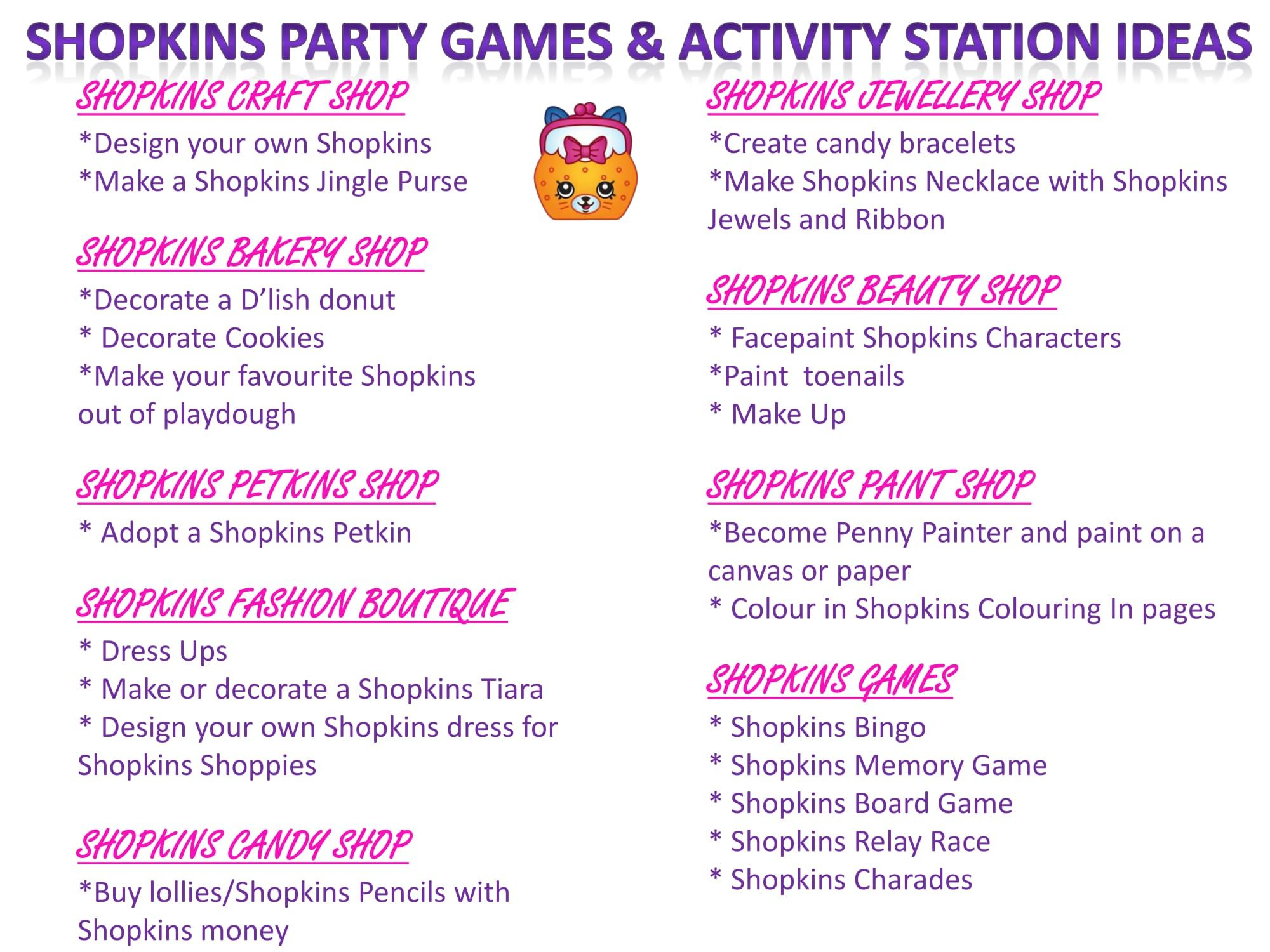 Shopkins Party Games & Activity Station Ideas Free Printable at