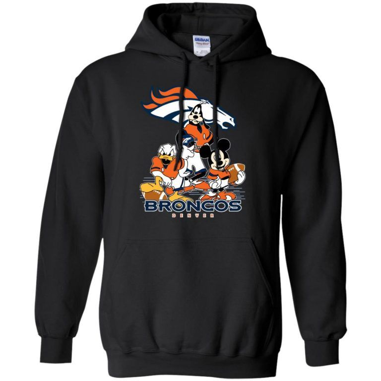 00e6bb3f Mickey Mouse Donald Duck And Goofy Denver Broncos American Football Sports  Hoodie