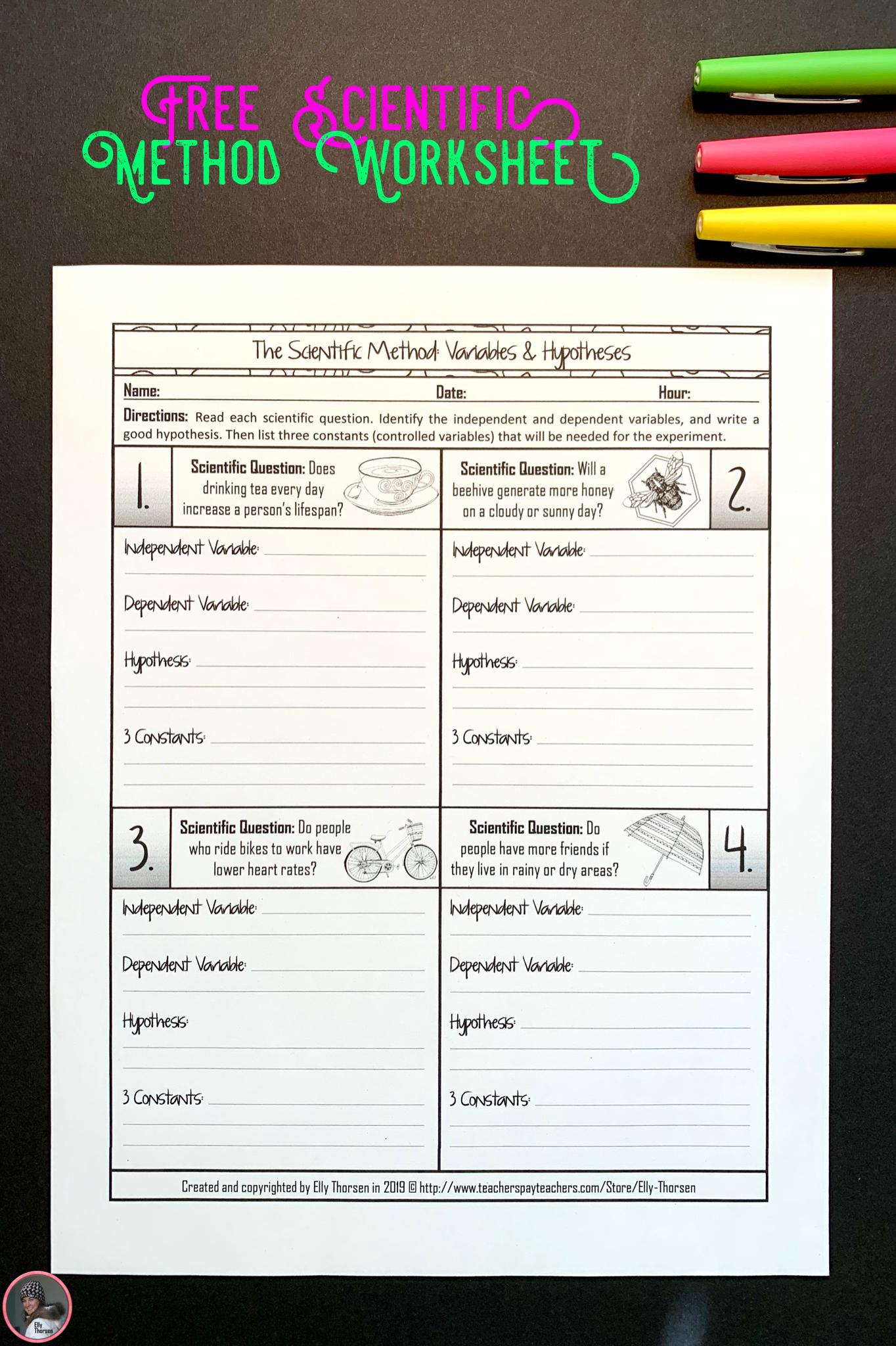 Free Experimental Design Worksheet For Middle School Science Middle School Science Middle School Science Resources Free Science Lesson