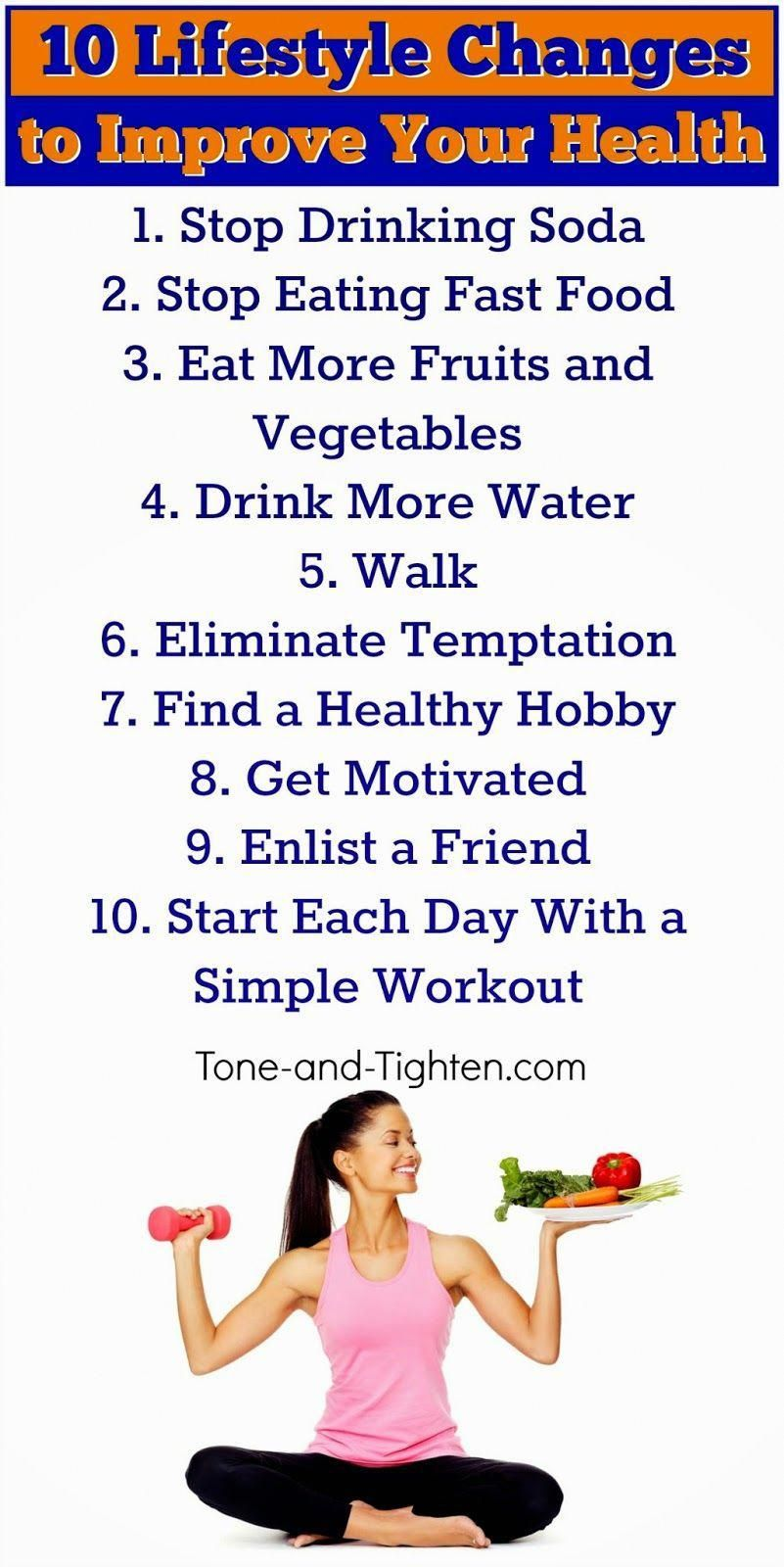 10 easy lifestyle changes to help you lose weight and get healthy. #fitness #advice from Tone-and-Ti...