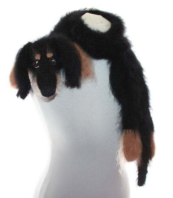 Knitted Scarf dog dachshund / Fuzzy Soft Scarf / black biege / Dog ...