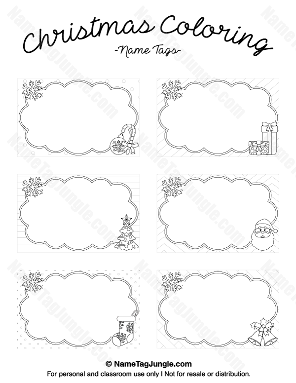 free printable christmas coloring name tags the template can also be used for creating items