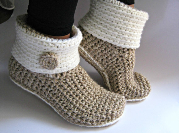 Crochet Slipper Boots with Eco Leather Soles, Women Slippers, Ankle Boots, Slouch Boots, Croc…