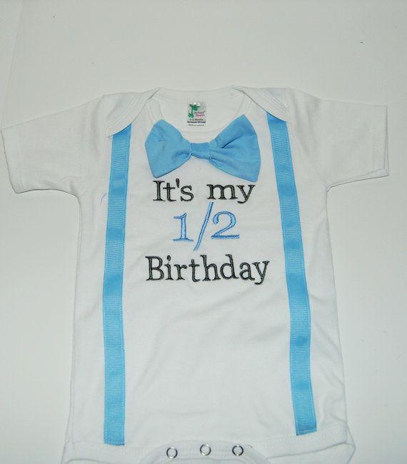 Its My Half Birthday Shirt 1 2 Onesie Set In Gray And Baby Blue Cake Smash