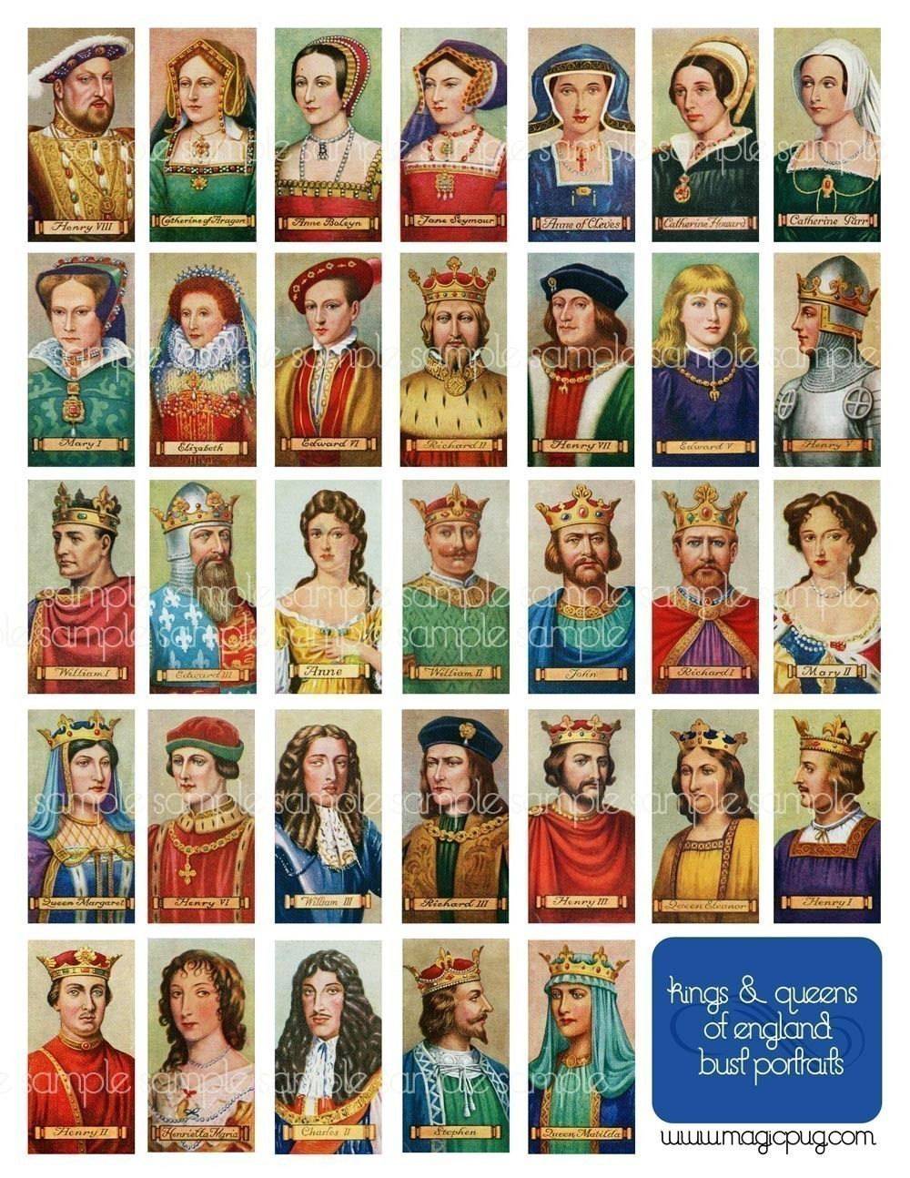 Antique Kings And Queens Of England Digital Collage Sheet Domino