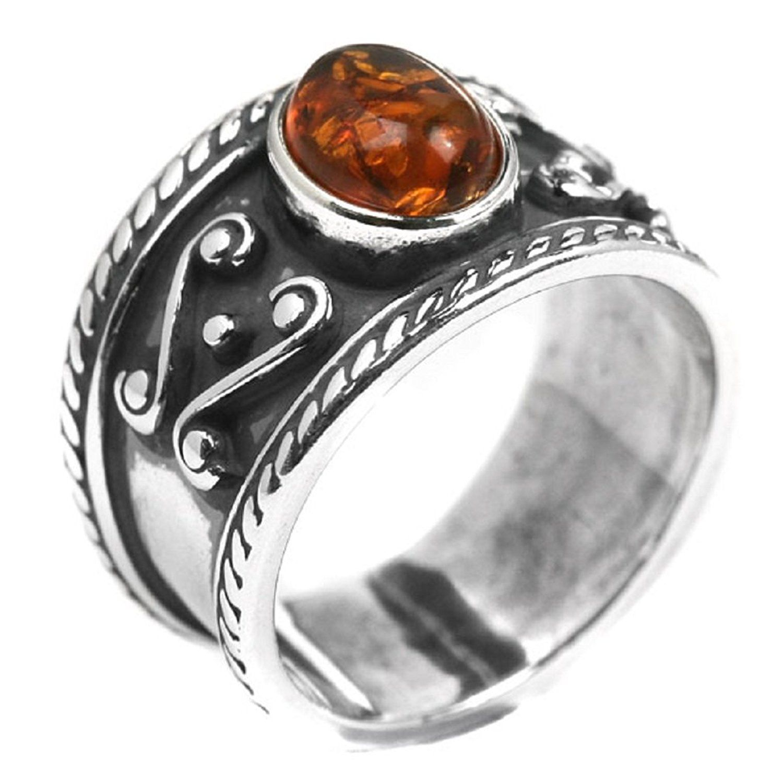 Baltic Honey Amber Sterling Silver Skull Men's Ring N6O7B