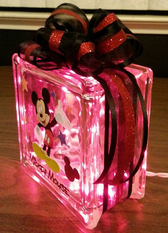 Kids Nightlight Disney S Mickey Mouse Lighted Glass Block