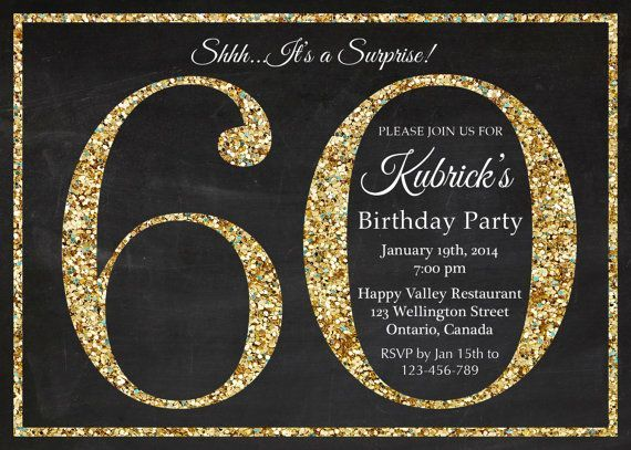 60th birthday invitation Gold Glitter Birthday Party invite – 60th Birthday Invitation Templates