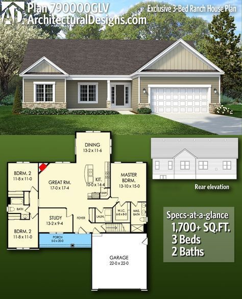 Plan 790000GLV: Exclusive 3-Bed Ranch House Plan  – Floor Plan Collection