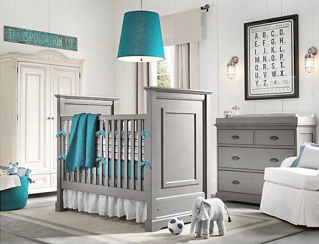 Cuarto de bebe en gris y turquesa - DecoIdeal Cuartos Pinterest