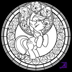 Stained Glass: Applejack -line art- by Akili-Amethyst on deviantART