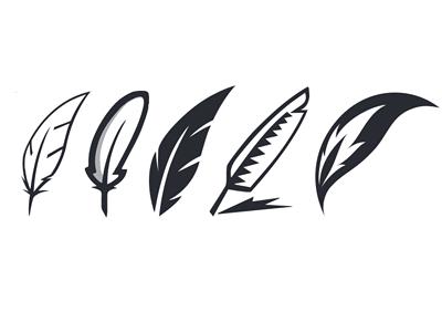 Quills Logo Variations Ink Logo Feather Logo Typographic Logo Design