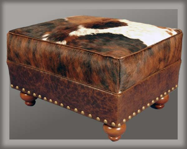 Superb Cowhide Ottoman Western Decor Cowhide Decor Theyellowbook Wood Chair Design Ideas Theyellowbookinfo