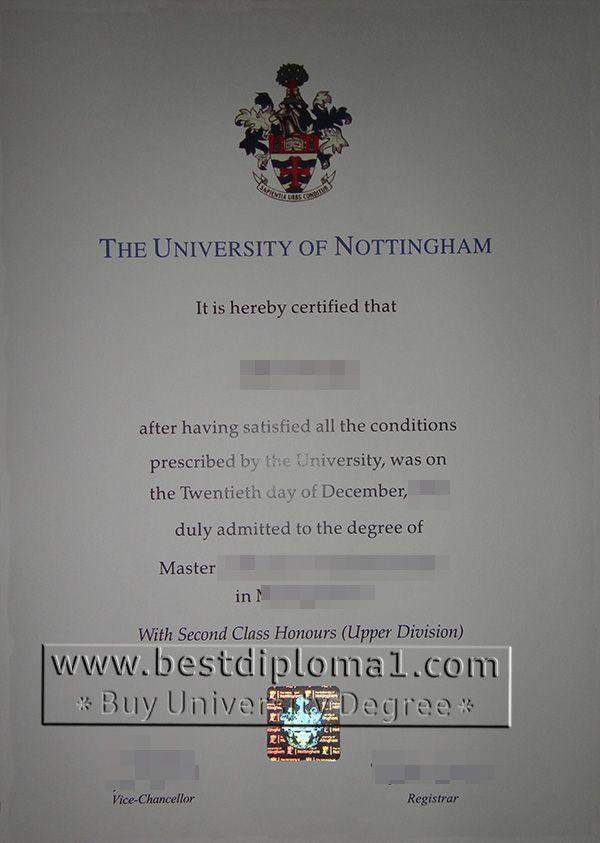 Nottingham Uni degree make a fake Notthingham
