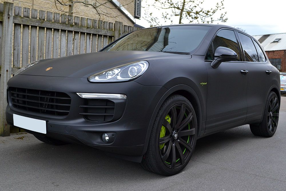 Porsche Cayenne E Hybrid Wrapped In Matte Black With Tinted Rear Lights And Tinted Windows By Pentagon Yorkshire Tints Wra Porsche Cayenne Dream Cars Porsche