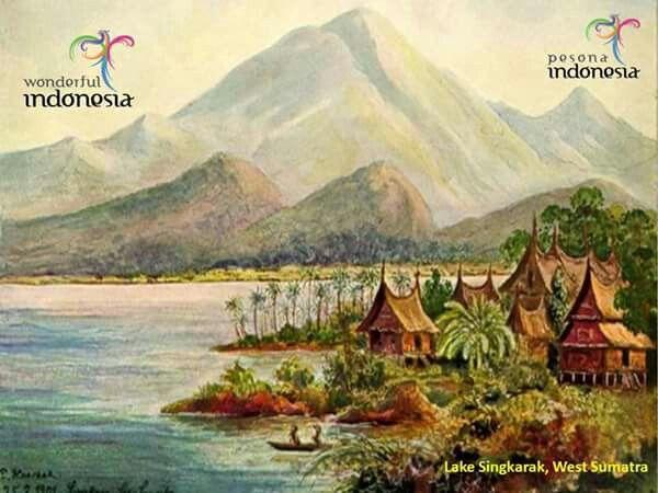 Ranah Minangkabau Sumatera Barat Indonesia Lukisan Pemandangan Gambar