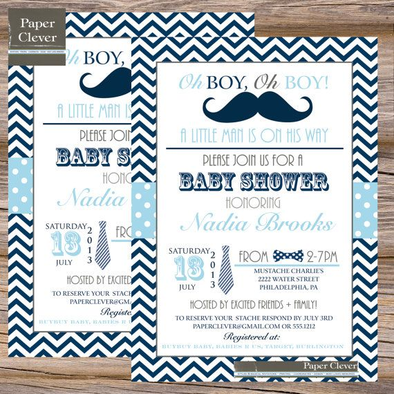 Awesome Mustache And Bow Tie Baby Shower Invitations Part - 6: Boys Baby Shower Invitation Bow Tie Mustache Navy By Paperclever, $13.00