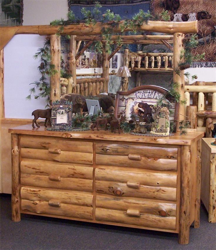 Amish Rustic Log Six Drawer Dresser with Optional Mirror