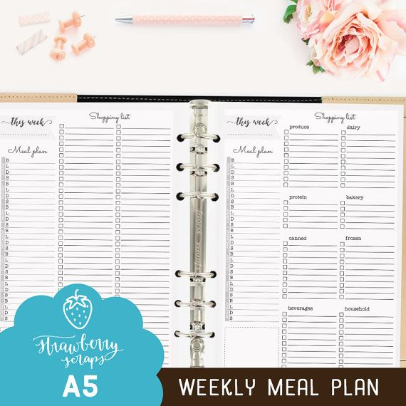 Meal Planner Printable Weekly Meal Plan  Strawberryscraps