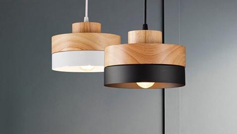 Eigil Scandinavian Pendant Lamp Wood And Metal White
