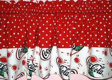 Coca Cola Kitchen Curtains New Lined Valance White Dots