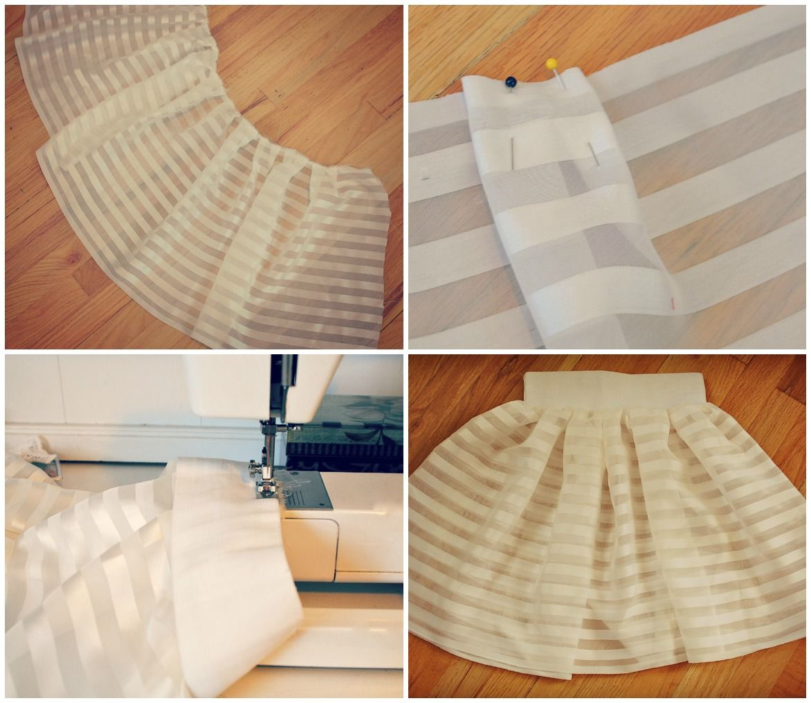 Trash To Couture: DIY Curtains sewn pleated skirt
