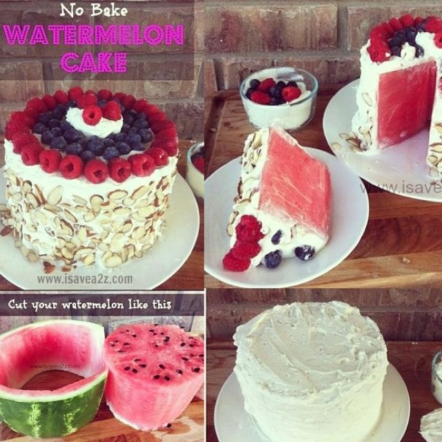 No bake watermelon cake ! Delish