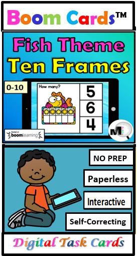 Ten Frames Numbers 0 10 Digital Game Fishing Theme Digital Task Cards Online School