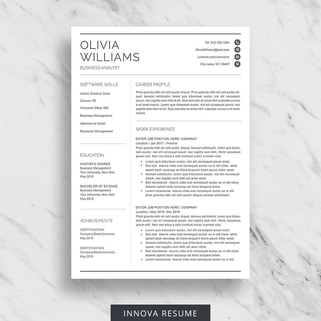 Professional Resume Template for Word Modern Resume