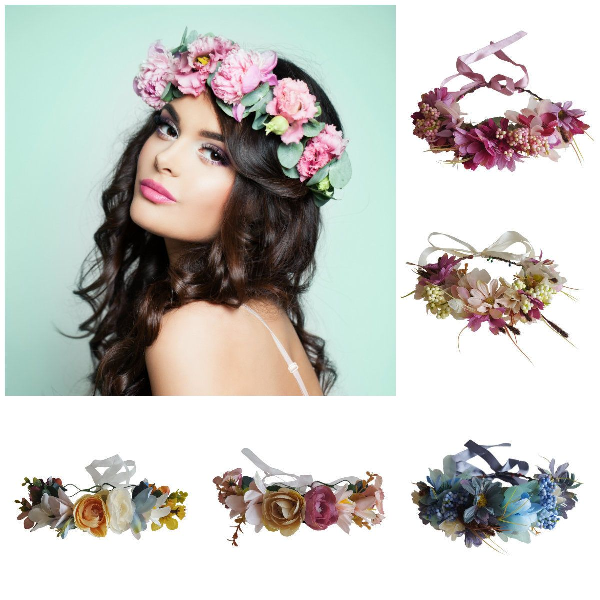 Flower Crowns Blue Pink Purple Bridal Party Festival Prom I Mean