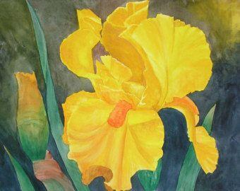 Original Watercolor Iris Painting by KaterCreator on Etsy
