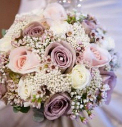 Lavender Rose Gypsophila Bridal Bouquet: Wedding Flowers & Decor