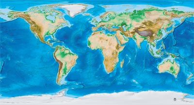 Earths Topography And Bathymetry With No Labels Up To Wide - Map of the world with no labels