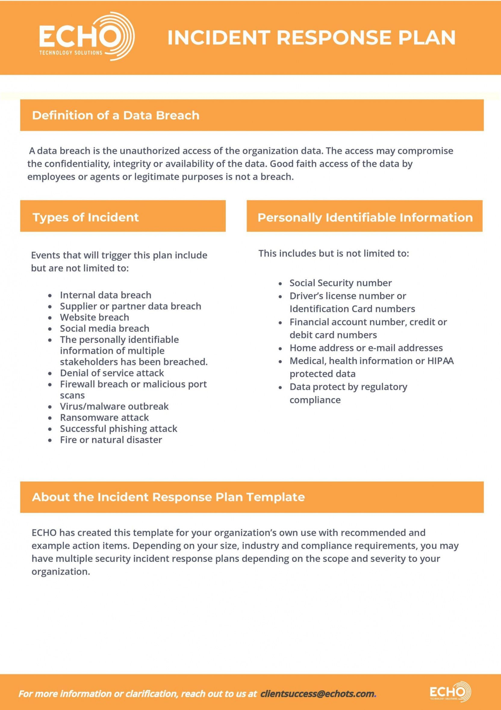 Explore Our Sample Of Cyber Incident Response Plan Template For Free Online Business Plan Template Business Plan Template Small Business Plan Template It incident response plan template