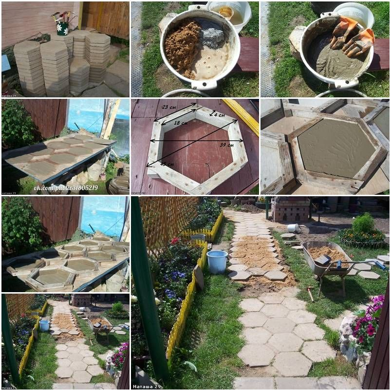 Making A Wonderful Garden Path Ideas Using Stones: Concrete Hexagon Paving Stones Walkway.