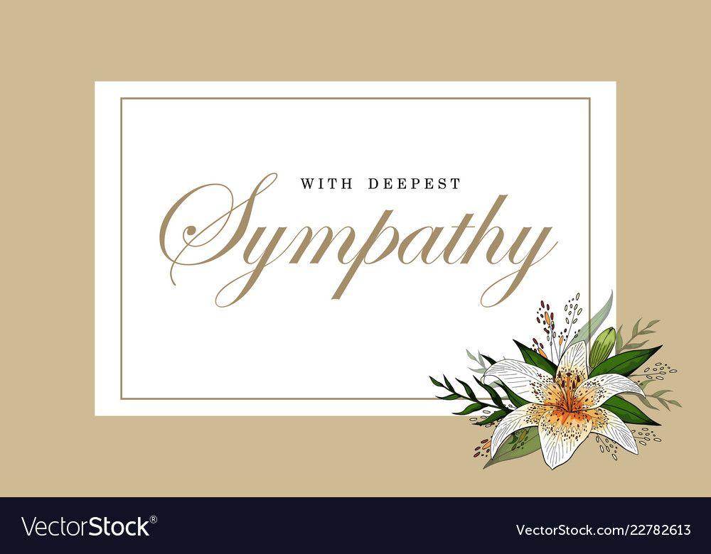Condolences sympathy card floral lily bouquet and vector